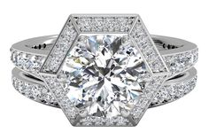 Vintage Hexagonal Halo Vaulted Diamond Band Engagement Ring with matching band - in Palladium (0.70 CTW)