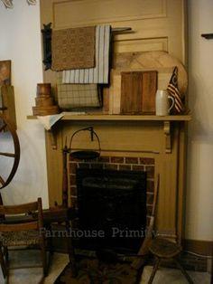 primitive homes gallery Primitive Homes, Primitive Fireplace, Fireplace Hearth, Primitive Antiques, Primitive Country, Primitive Decor, Primitive Mantels, Fireplaces, Prim Decor