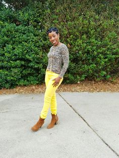 Leopard Top and Yellow Pants – Pink and Gabulous