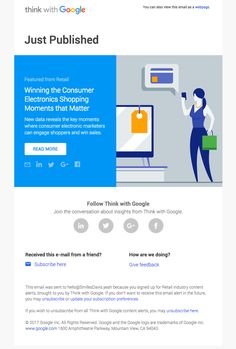 Winning the Consumer Electronics Shopping Moments that Matter - Really Good Emails Email Template Design, Email Templates, Email Design, Newsletter Templates, Logo Design, Electronics Projects, Consumer Electronics, Think With Google, Best Email