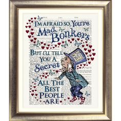 ART PRINT ORIGINAL ANTIQUE BOOK PAGE Dictionary Alice in Wonderland BONKERS old | eBay