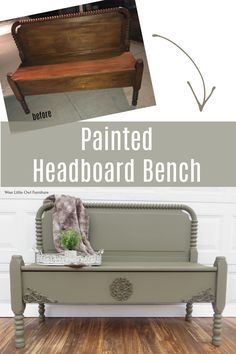 A few simple furniture appliques and a buttery smooth paint job and this painted headboard bench has a fresh new life! Learn how to add these appliques and achieve this finish. #paintedfurniture #dixiebellepaint #bestpaintonplanetearth Upcycled Furniture, Simple Furniture, Diy Furniture Projects, Paint Furniture, Diy Projects, Old Furniture, Painted Headboard, Little Owl, Painted Benches
