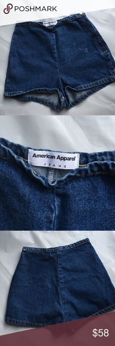 AMERICAN APPAREL HIGH WAISTED DENIM SHORTS High waisted shorts. Side zipper. Size small. New! American Apparel Shorts Jean Shorts