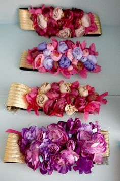 cinturones de flores artificiales - Buscar con Google Silk Arrangements, Long Formal Gowns, Fancy Hats, Arts And Crafts, Diy And Crafts, Head Accessories, Fascinator Hats, Fabric Jewelry, Handmade Flowers