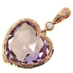 6.80ct Pink Amethyst Heart Pendant 14k Rose Gold