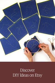Zodiac embroidery kit. Any two constellations in a set. Shop DIY craft projects on Etsy.