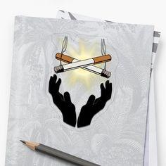 'Holy Cigarette / Praying For Nikotine' Sticker by RIVEofficial My Portfolio, Transparent Stickers, Glossier Stickers, Holi, Pray, Custom Design, Digital Art, Trends, Artist