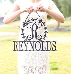 Personalized Wall Sign with Last Name and Wreath Monogram