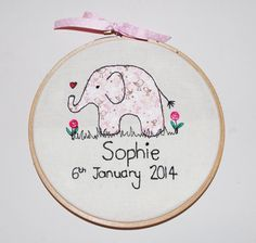 New Baby Free Motion Embroidery Personalised by MintyPinkCustard, £20.00