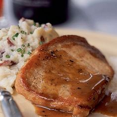 Honey and Spice-Glazed Pork Chops. Add a spicy-sweet kick to your traditional pork chop recipe by simmering pork chops in a honey, Dijon mustard, ground ginger, cinnamon, and clove glaze. Serve with mashed potatoes to soak-up the extra sauce. Quick Pork Chop Recipes, Pork Recipes, Cooking Recipes, Cooking Pork, Freezer Cooking, Freezer Meals, Cooking Time, Chicken Recipes, Gastronomia