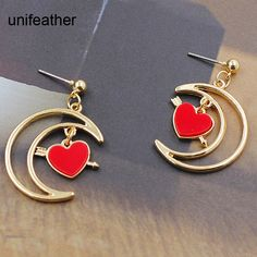 Bohemian Gypsy New Fashion Drop Earring Gold Hollow Out Moon Heart Shape Earrings for Women Jewelry Gift Harajuku Wholesale 9260 #Affiliate