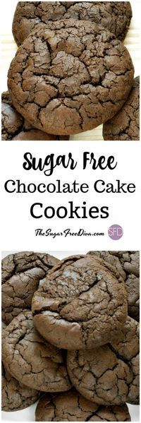 These are so easy to make and they taste so delicious too. This is The recipe for Sugar Free Chocolate Cake Cookies that are amazing! Recipe For Sugar Free Chocolate Cake, Sugar Free Deserts, Sugar Free Sweets, Sugar Free Cookies, Cake Cookies, Diabetic Chocolate Cake, Sugar Free Recipes Dinner, Chocolate Cookies, Sugar Free Snacks