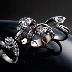 four red and white gold diamond rings Somerset West, Fine Jewelry, Jewellery, White Gold Diamonds, Diamond Rings, Jewelry Collection, Red And White, Cufflinks, Vans