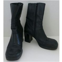 Black Heeled Boots 8.5 Black Boots, used condition, have wear - size 8.5 Shoes Heeled Boots