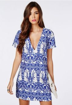 Oversized V Neck Shift Dress White Floral - Dresses - Shift Dress - Missguided