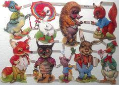 Valentines Vintage Victorian Scraps Fairy Tale Animals Scrap Papers German West Germany Romantic Cute Animals Kitsch