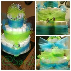 Bright blue & green diaper cake. @sar2983 is my instagram name follow me!