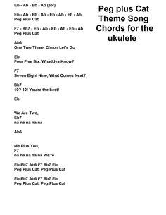 Peg Plus Cat Theme song Chords for the Ukulele. By J. Walter Hawkes (The Composer. ) Heres the link. :) https://www.youtube.com/watch?v=e-NVDtVbwF8