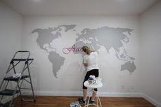 World Map Wall Subway Art by sawdustandpaperscraps.com