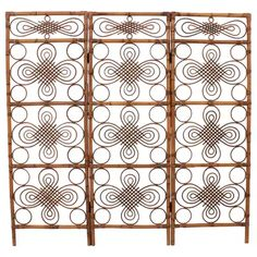 Rattan And Bamboo Screen / Room Divider With Chinoiserie Accents, Spain, - Modern Bamboo Furniture, Modern Furniture, Folding Screen Room Divider, Room Dividers, Room Screen, Large Oval Mirror, Bamboo Screening, Wicker Headboard, Bamboo Crafts
