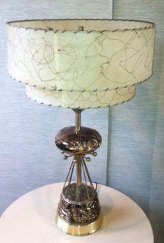 ATOMIC, Vintage, Sputnik Ceramic/Brass Lamp with Two Tiered Fiberglass Shade by Got Retro, $289.00