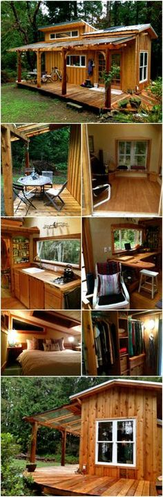 ⇒ Diy ideas for tiny house decor. There are tiny houses for every style, for every mood … but I am a big fan of the rustic log cabin look. Maybe it is because that style of architecture immediately puts me in mind of a cozy retreat…. Tiny Cabins, Tiny House Cabin, Log Cabin Homes, Cabins And Cottages, Tiny House Living, Tiny House Plans, Tiny House Design, Tiny Guest House, Eco Cabin