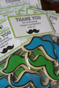 Favor Tags for Mustache Cookies for a Mustache Bash First Birthday Party - Serendipity Designs Weddings & Events Pensacola Wedding Planner - www.serendipity-designs.com