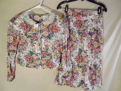 VINTAGE NEW Women's 2 Piece Blouse Skirt Dress Set Floral USA MADE -Med/Small #Marilyn #Churchdress80sparty #Casual