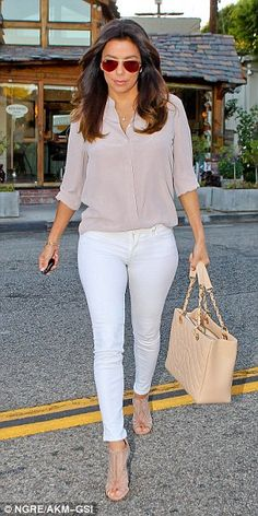 Trends we love: Neutrals on neutrals! Try pairing nudes/taupes with white for a fresh and airy take. (Eva Longoria)