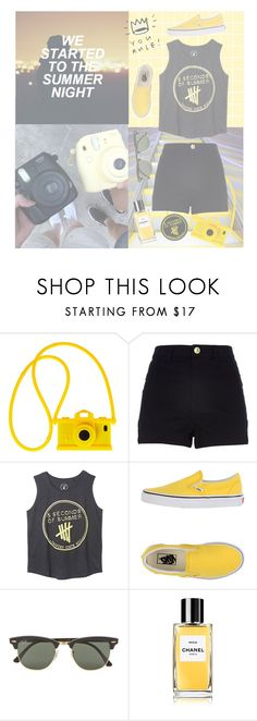 """yellow x 5SOS"" by hmuhemmo ❤ liked on Polyvore featuring Moschino, River Island, Vans and Ray-Ban"