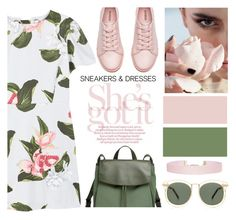 """""""sneakers and dresses"""" by sebi86 ❤ liked on Polyvore featuring MANGO, H&M, Skagen, Karen Walker, Humble Chic and SNEAKERSANDDRESSES"""