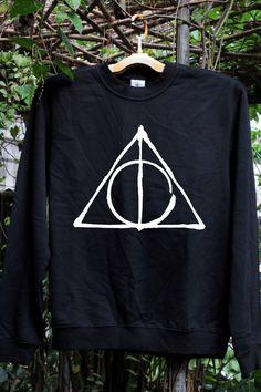 Deathly Hallows - Harry Potter - Sweatshirt Black Men/Unisex screen white. $26.00, via Etsy.