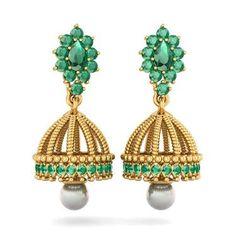 The Fatima Detachable Jhumki Emerald , White Pearl Earring In 18Kt Yellow Gold