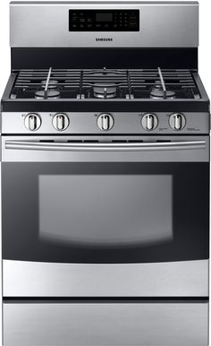 Samsung NX58F5500SS 30 Inch Freestanding Gas Range with 5 Sealed Burners, 53,000 BTU Cooktop, 17,000 BTU High-Power Burner, 5.8 cu. ft. Oven, Griddle, Delay Bake, Storage Drawer and Self-Cleaning Mode: Stainless Steel