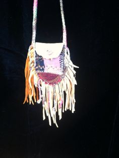 Boho crochet beaded Leather scrap quilt Medicine Bag by Shawme, $50.00