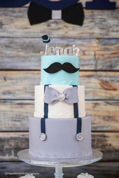 Sophisticated Mustaches And Bows Baby Shower Cake