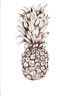 Pineapple Art Print Pineapple Sketch, Pineapple Tattoo, Pineapple Art, Pineapple Images, Pineapple Painting, Pineapple Kitchen, Pineapple Illustration, Illustration Art, Fruit Art