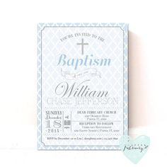Baptism Invitation // Christening Invite // by AfterFebruary