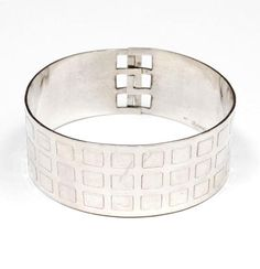 """HANS APPENZELLER 1949 - Zilveren raster""""-armband ontwerp uitvoering 1978"""