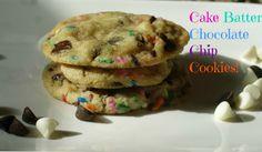 Cake Batter Chocolate Chip Cookies #cakebatter #chocolatechip #chewy #cookies #dessert #birthday #recipe #birthdaycake