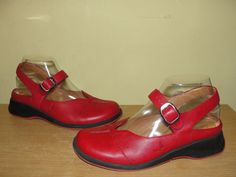 MURTOSA Womens Shoes Red Leather Buckle Strap Mary Janes Slingback Clogs Size 37 #MURTOSA #MaryJanes #WeartoWorkCasual
