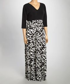 Loving this Black & Cream Filigree Tie-Waist Maxi Dress - Plus on #zulily! #zulilyfinds