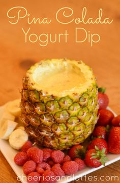 Ingredients: 1 small package Coconut Cream Pudding  1 8oz. can Crushed Pineapple 3/4 cup Plain Greek Yogurt 1/2 cup Milk Directions: 1. Combine all of the ingredients in a small bowl. Refrigerate for 2-3 hours, or until firm. 2. Serve Pina Colada Yogurt Dip in a hollowed pineapple or coconut