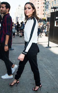 Tuxedo Stripe from Olivia Culpo's Street Style  This Public School look gave Olivia an edgy vibe on the streets of New York City.