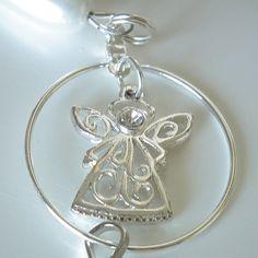 Christmas Beaded ID Badge Lanyard, Silver Angel, White Teardrop Pearls, Red Beads, Breakaway Style