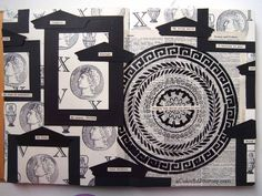 Video tutorial of an art journal page using Maria McGuire's Stitch a Greek Medallion stencil by Carolyn Dube