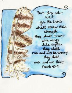 Bible Verse Isaiah 40:31  Wings Like Eagles Illustrated Watercolor print