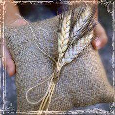 Wheat And Burlap Ring Bearers Pillow  Rustic by sparkleandposy    For or against burlap??
