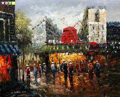 moulin rouge painting | Details zu Modern Art Spaziergang am Moulin Rouge Paris c82516 50x60cm ...