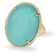 Anne Sisteron  14KT Yellow Gold Turquoise Diamond Oval Cocktail Ring ($1,600) ❤ liked on Polyvore featuring jewelry, rings, gold, diamond jewelry, yellow gold rings, gold turquoise ring, turquoise rings and turquoise jewelry